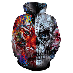 3d tiger and skull printed hooded sweater as picture m