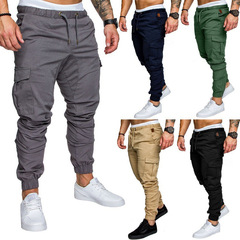 COCOCICI Fastion Men Trouser Side Pockets Elastic Cuffed Jogger Pants multiple pockets casual pants Iron gray m
