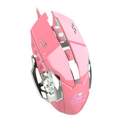 New pink gaming mouse 3200dpi white light design is not glare Suitable for office and game play pink one size