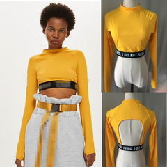 2019 latest popular women's long-sleeved ribbon backless shorts (Kenya for exclusive) yellow s