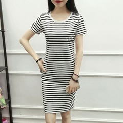 2019 newest head striped short-sleeved dress White stripe s