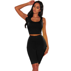 Europe and America sleeveless exposed navel casual two-piece suit solid color sports black s