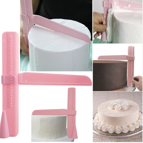 Kitchen Tools Cake Scraper Spatula Practical Fondant Cakes Edge Side Smoother Cream Decorating Tools pink as show