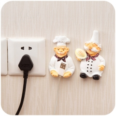 Kitchen Socket Power Cord Storage Rack Shelf Holder Wall Mounted Adhesive Sticky Hook Hanger Plug Chef's foot as show