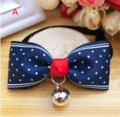 1Pcs Fashion Adjustable Puppy Kitten Dog Cat Pet Bow Tie With Bell Necktie Collar A 15—30cm