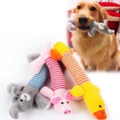 Dog Cat Pet Chew Toys Canvas Durability Vocalization Dolls Bite Toys for Accessories Pet Products elephant one size