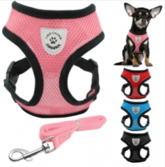 New Soft Breathable Air Nylon Mesh Puppy Dog Pet Cat Harness and Leash Set red S