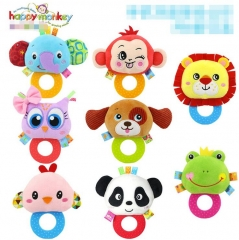New Hand Bell Toddler Interactive Cartoon Animal Plush Toys Newborn Rattles Toy monkey one size