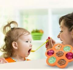 Baby Feeding Food Container Infant Flower Lattice Fruit Breast Milk Storage Box Freezer Tray Crisper orange 160mm *160mm*40mm