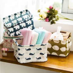Cute Animal Printing Cotton Linen Desktop Storage Organizer Sundries Storage Box Cabinet Underwear tree 20*15*12cm
