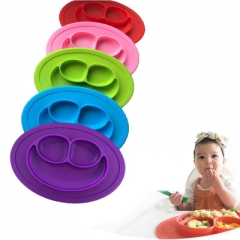 Smile Face Lunch Tableware Fruit Dishes Children Bowl Cute Harmless Baby Dining Plate pink 27*19CM