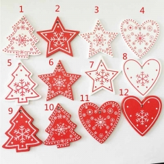 10pcs/set Lovely Snowflakes Christmas Wooden Pendants Ornaments Party Decorations Kids For Tree 1 as show