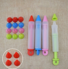 Silicone Food Writing Pen  Decorating tools Cake Mold Cream Cup,Cookie Icing Piping Pastry Nozzles red free size