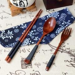 3pcs/set Spoon/Fork/Chopsticks Kit Wooden Long-Handled Dinnerware black as show