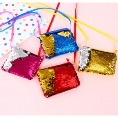 Mermaid Sequin Glitter Mini Bag Coin Card Case Bleeding pink one size