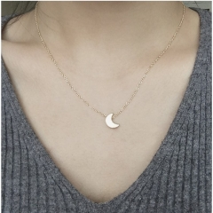 Women Mini Moon shape Necklace Gift Jewelry Gold Silver gold one size