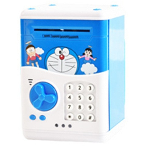 Piggy Bank Money Coin Bank Password Lock Saving ATM Bank Box Toy Doraemon one size