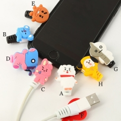2Pcs BTS BT21 Mobile Phone Data Line Cover Protective Charging Cable Bite Holder A as show