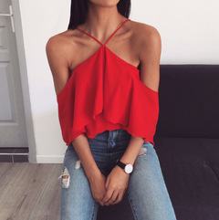 New Women's Sexy Loose Cross Suspension Strap Pure Shoulder-bare Chiffon Summer Dress red s