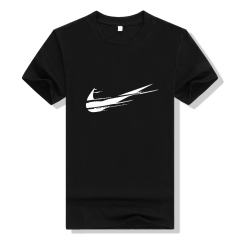 Funny T-shirt O-neck T-shirt Just Do It Hip-hop letter printed men's print T-shirt men's shirt black S