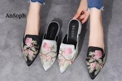 AnSoph 1 Pair Pointed Embroider Women Ladies Flat Sandal Casual Shoe Elegant Fashion Plus Size Black 35