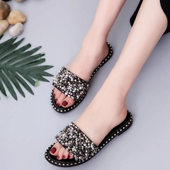 AnSoph 1 Pair Bling Slipper Women Ladies Flat H Shape Sandal Casual Shoe Se Sexy Fashion Slipper black 35