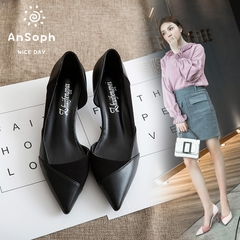 AnSoph 1 Pair Pointed Pump Women Ladies Heel Patchwork Court Elegant Shoe Working Party Fashion Pump black 39
