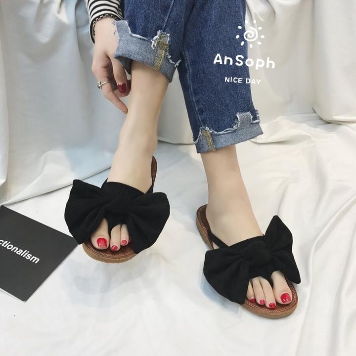 155034089 AnSoph 1 Pair Bow Sandal Women Ladies Flat Faux Suede Sandal Casual ...