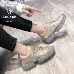 AnSoph 1 Pair Crystal Sneaker Women Ladies Diamond Heel Court Sport Casual Shoe Fashion Lace Up Shoe gold 37