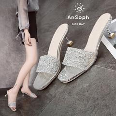 AnSoph 1 Pair Bling Sandal Women Ladies Heel Slipper Designer Glitter Casual Shoe Elegant Wedge Shoe silver 38