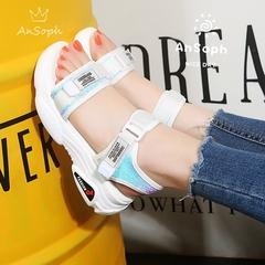 AnSoph 1 Pair Platform Sandal Women Ladies Heel Buckle Sandal Glitter Summer Casual Shoe white 40