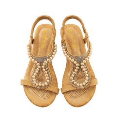 AnSoph 1 Pair Beads Sandal Women Ladies Wedge Cushion Sandal Casual Summer Beach Shoe Plus Size beige 41