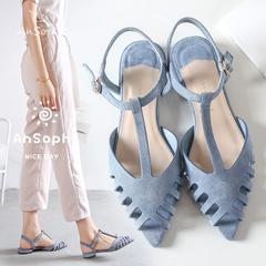 AnSoph 1 Pair Pointed Pump Women Ladies Flat Hallow Out Sandal Sexy Shoe Elegant Fashion Plus Size blue 40