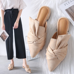 AnSoph 1 Pair Pointed Mules Women Ladies Faux Suede Flat Sandal Casual Shoe Elegant Plus Size nude 41