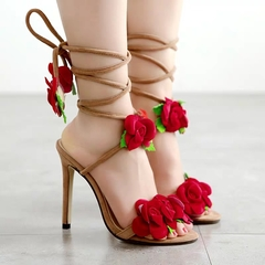 AnSoph 1 Pair Fishnose Sandal Women Ladies Heel Rose Sandal Sexy Shoe Elegant Fashion Plus Size beige 42