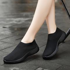 AnSoph 1 Pair Fly Knit Sneaker Women Ladies Sock Running Shoe Comfortable Shoe Plus Size black 35
