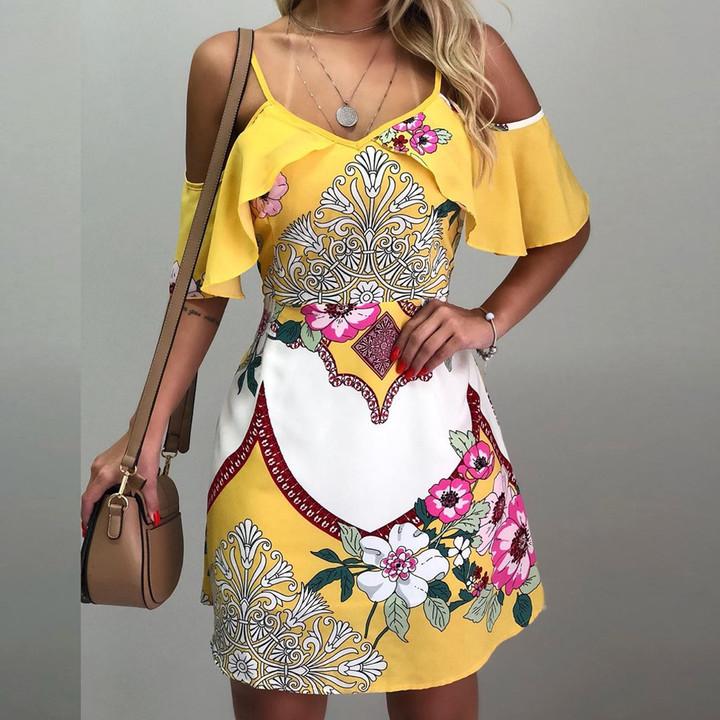 AnSoph 1 Piece Women Summer Sexy Mini Dress Strappy Floral Short Beach Dress Ladies Dresses Vestidos yellow m