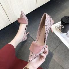 AnSoph 1 Pair Heeled Pump Ladies Pointed Snake PU Court Work Shoe Autumn New Sexy Dress Shoe pink 38
