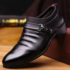 Men's single shoes, leather shoes black 38