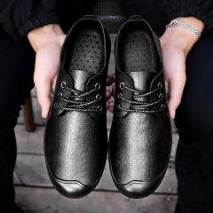 Leather Shoes Men's Soft-soled Lazy Shoes black 39