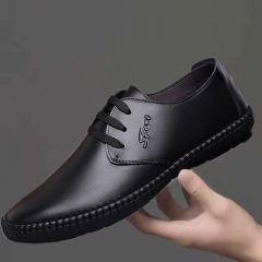 Manufacturer sells new style men's leather shoes black 39