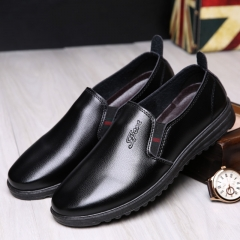 Men's soft sole casual black leather shoes black 39