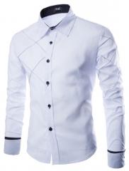 2018 New Men's Pure Cotton Long Sleeve Shirt white m