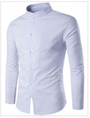 Cross-border trade men's Royal Court Style Embroidered Lapel large-size long-sleeved shirt white m