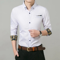 New Long-sleeved Men's Shirts for Young Men white m