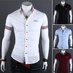 Men's casual short-sleeved shirts white m