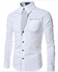 men's stripe decoration long sleeve color matching body-shaping shirt white m