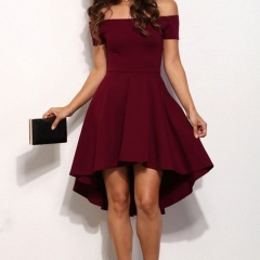 Summer Elegant Party Slash Neck Off Shoulder Dress Evening Party Dress Pure Color Dress wine red M