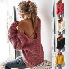 autumn winter v neck long sleeve sweater tops loose casual leisure backless tops sweater black M