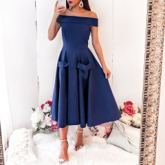 women sexy sleeveless slash neck dress off shoulder pocket zipper midi dress evening party dress blue s